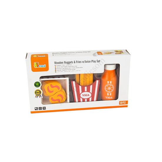 Viga Toys játék csirkefalatok krumplival és üdítővel