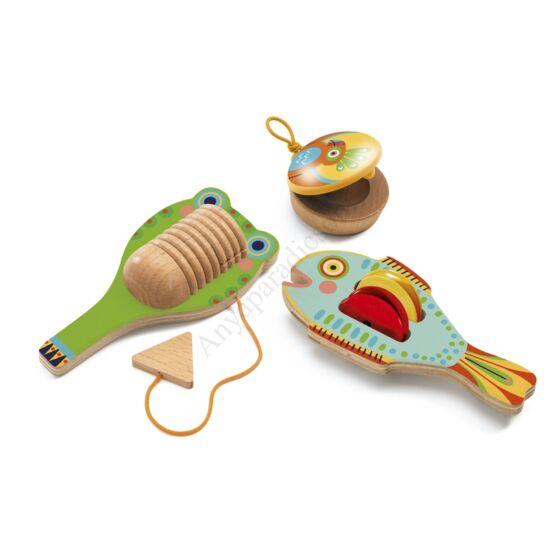Djeco játékhangszer készlet, cintányér, kasztanyetta, reco-reco