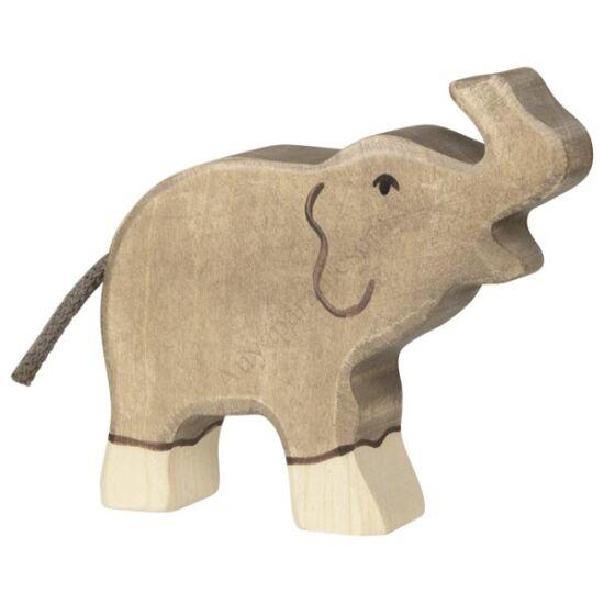 Holztiger elefánt felemelt ormannyal