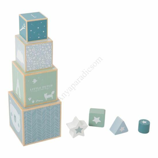 Little Dutch fa toronyépítő kocka, kék
