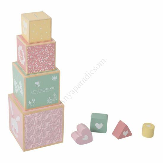 Little Dutch fa toronyépítő kocka, rózsaszín - kifutó termék